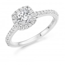 Platinum Cushion cut FSi1 Diamond Halo Ring