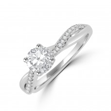 Platinum Solitaire GSi1 Diamond Twist Ring