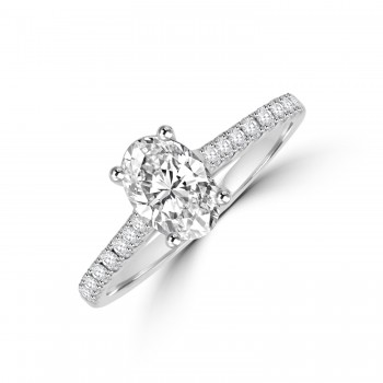 Platinum Oval Solitaire DSi1 Diamond  Ring with set shoulders