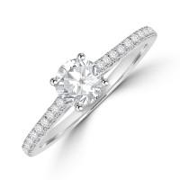Platinum Solitaire DSi2 Diamond Ring with set shoulders