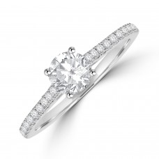 Platinum Solitaire DSi2 Diamond Ring with set shoulders