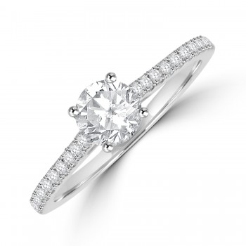 Platinum Solitaire DSi1 Diamond Ring with set shoulders