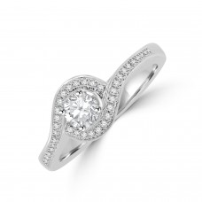 Plaitnum Diamond Solitaire Twist Halo Ring