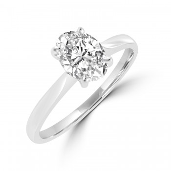 Platinum Solitaire Oval DSi2 Diamond Ring