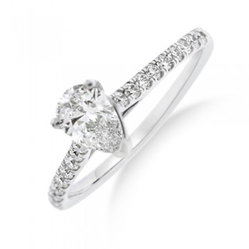Platinum Pear Cut FVS2 Diamond Solitaire Ring