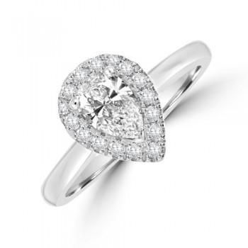 Platinum Pear Diamond Halo Ring