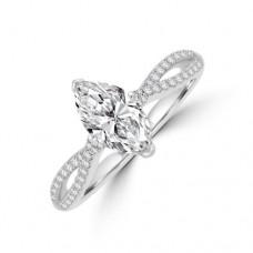 Platinum Marquise EVS2 Diamond Twist Ring