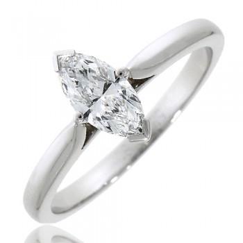 Platinum Solitaire Marquise (GVS2) Diamond Ring