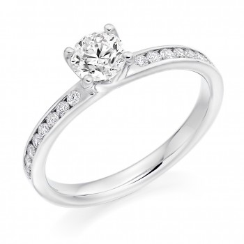 Platinum Solitaire FVS2 Diamond Ring with Channel shoulders