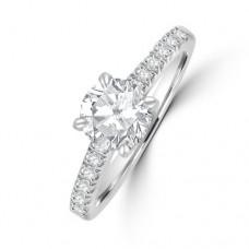Platinum Solitaire DSi2 Diamond Ring with Castle Shoulders