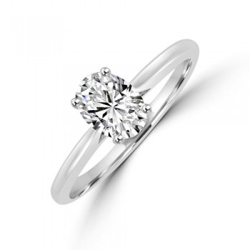 Platinum Oval Solitaire DSi1 Diamond Ring
