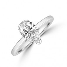 18ct White Gold Pear Solitaire Diamond Ring