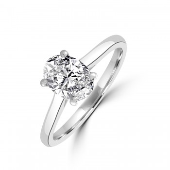 Platinum 1.00ct Oval DSi1 Diamond Solitaire Ring