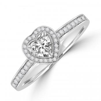 Platinum .37ct Heart FSi1 Diamond Halo Ring