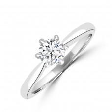 Platinum .43ct Brilliant ESi2 Diamond Solitaire 6-claw Ring