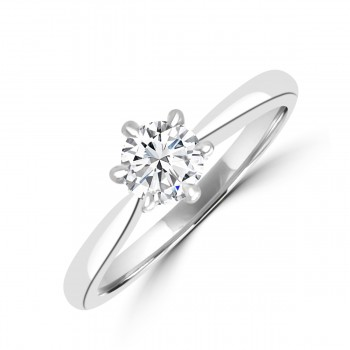 Platinum .43ct Brilliant ESi2 Diamond Solitaire 6-claw Ring