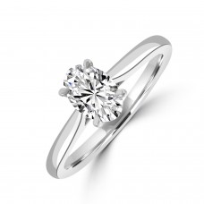 Platinum Oval Solitaire GSi1 Diamond Ring