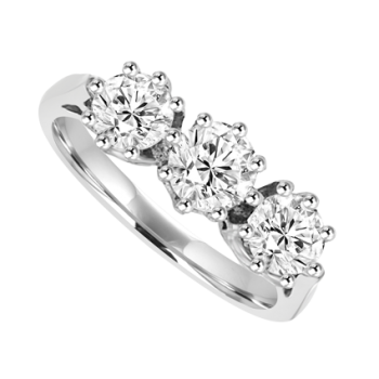Platinum 3-Stone .95ct Diamond Ring Engagement