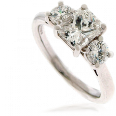 Platinum 3-Stone Radiant/Brilliant cut Diamond Ring Engagement