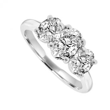 Platinum 3-Stone Oval Diamond Ring
