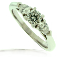 Platinum 3-stone Brilliant & Pear cut Diamond Ring
