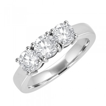 Platinum Three-stone Diamond Trilogy Ring