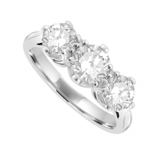 Platinum 3 stone Diamond Tradiional set Ring