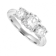Platinum 3 Stone Diamond 4-claw Ring