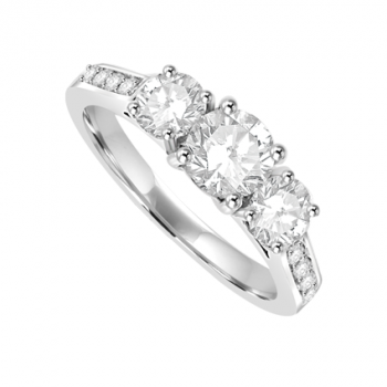 Platinum 3 Stone Diamond ring with set shoulders