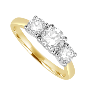 18ct Gold & Platinum 3 Stone Diamond Ring 1.06ct