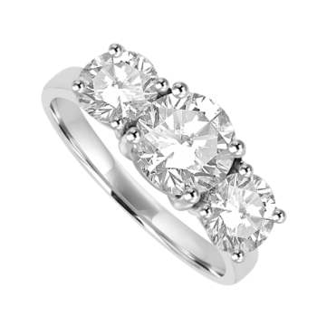 Platinum 3-Stone Diamond Ring D1.02ct GSI1 2D1.01ct