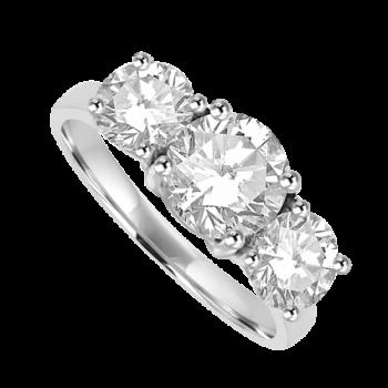 Platinum 3-Stone Diamond Ring D1.02ct GSI1 2D1.01ct