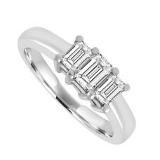 Platinum 3-Stone Emerald cut Diamond ring Engagement