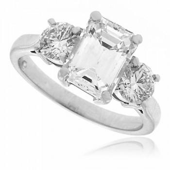 Platinum 3-stone Emerald & Brilliant cut Diamond Ring