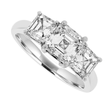 Platinum 3-Stone Asscher cut Diamond Ring