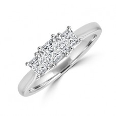 Platinum 3-stone Princess cut Diamond Ring