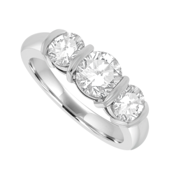 Platinum 3-Stone Diamond Bar Set Ring Engagement