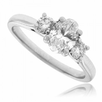 Platinum 3-Stone Oval & Brilliant cut Diamond Ring