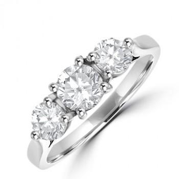 Platinum 3st Diamond Ring in 3x4 claw setting
