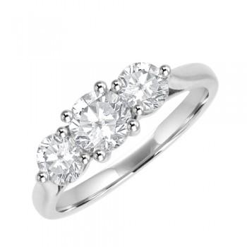 Platinum Three-stone Diamond 3x4x3 Claw Ring