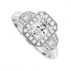 Platinum 3 stone Phoenix & Baguette Diamond Halo Ring