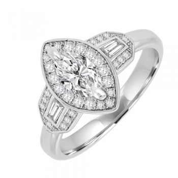Platinum Three-stone Marquise ESi1 Diamond Baguette Halo Ring