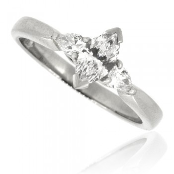 Platinum 3-Stone Marquise & Pear cut Diamond Ring
