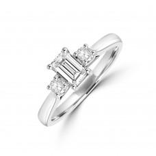 Platinum Three-stone Emerald & Brilliant cut Diamond Ring