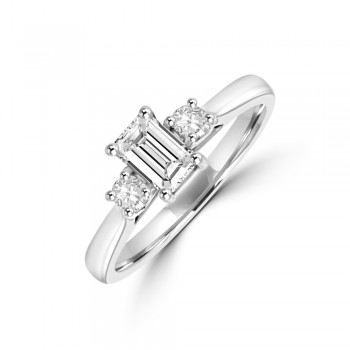 Platinum Three-stone Emerald & Brilliant cut Diamond Ring