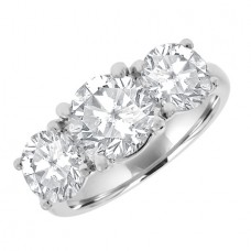 Platinum 3.51ct Three-stone GVS2 Diamond Ring