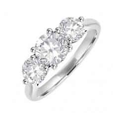 Platinum Three-stone 1.69ct Diamond Engagementt Ring