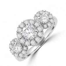 Platinum Three-stone Diamond Halo Cluster Ring