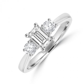 Platinum 3-stone GVVS1 Emerald cut & Brilliant Diamond Ring