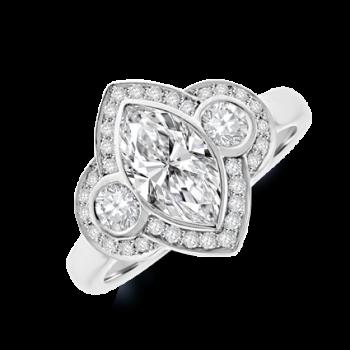 Platinum Three-stone Marquise & Brilliant Diamond Halo Ring